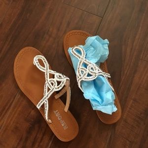 White and Silver Beading Thong Sandal Flats
